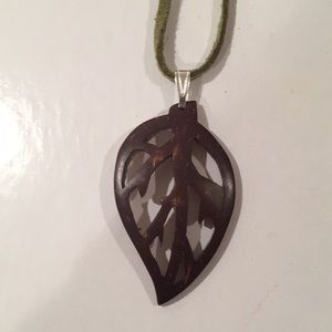 Handcarved coconut shell pendant
